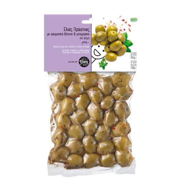 Ελιές Πράσινες Με Αρωματικά Βότανα & Μπαχαρικά Σε Φάκελο